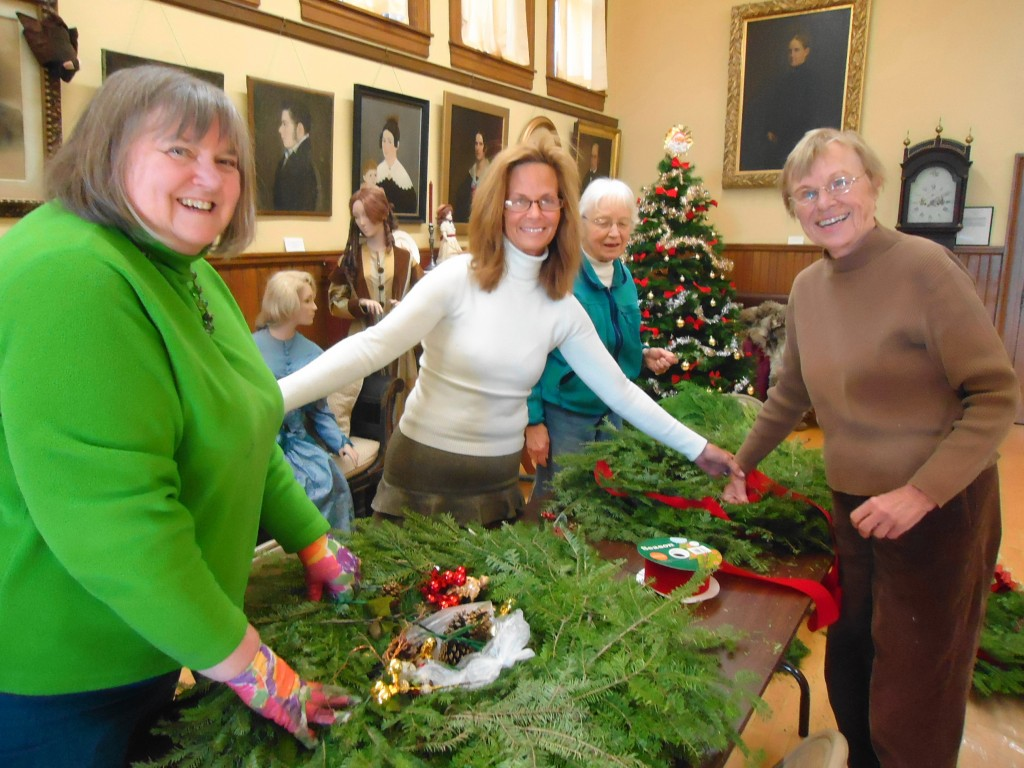 Making Wreaths at the Exeter Historical Society.