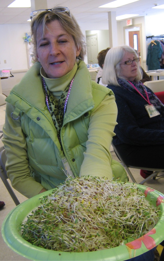 Mel passes around sprout samples. Susan wonders when they are coming her way.